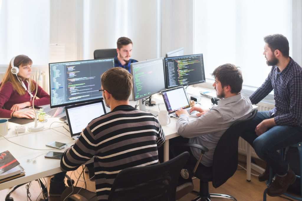 team of software developers working together on a project.